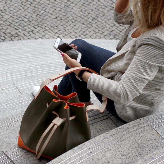 street fashion khaki ornage Soofre Bucket Bag