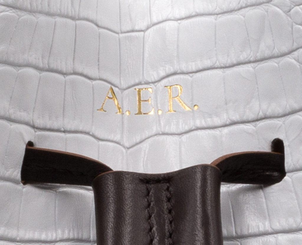 Soofre Gold Hot Stamp Monogram on Crocodile Embossed Leather Bucket Bag