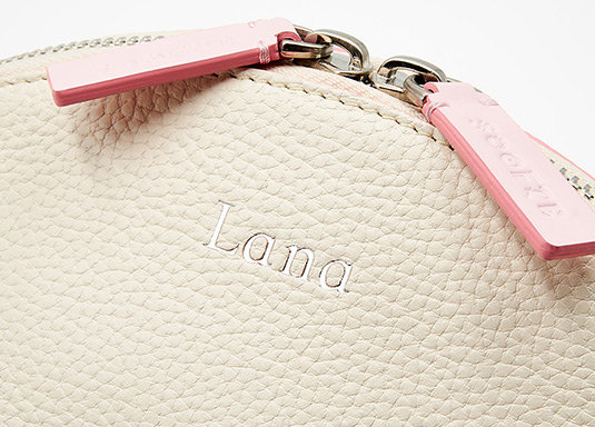 Soofre Silver Hot Stamp Monogram on Grainy Leather Cosmetic Bag