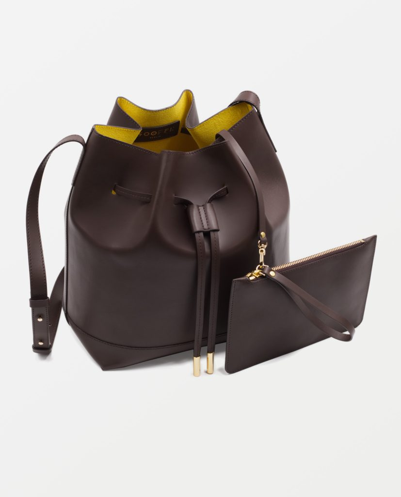 Soofre Smooth Leather Bucket Bag Color brown