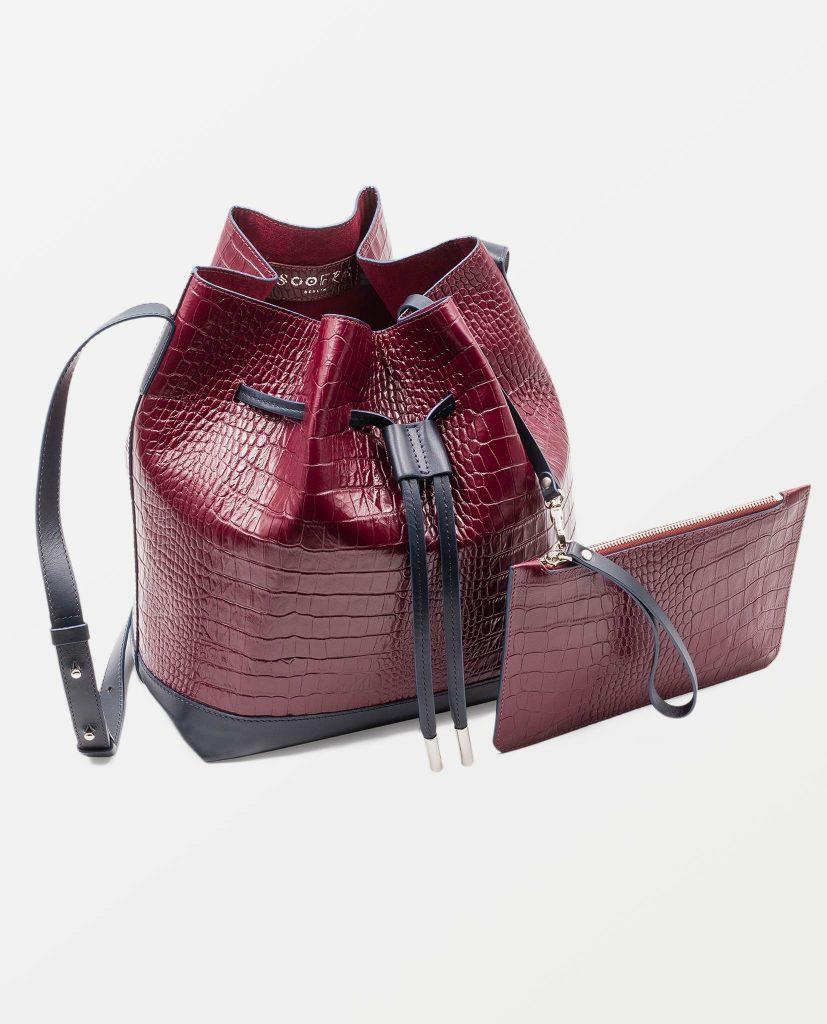 Soofre Crocodile Embossed Leather Bucket Bag Color burgundy navy