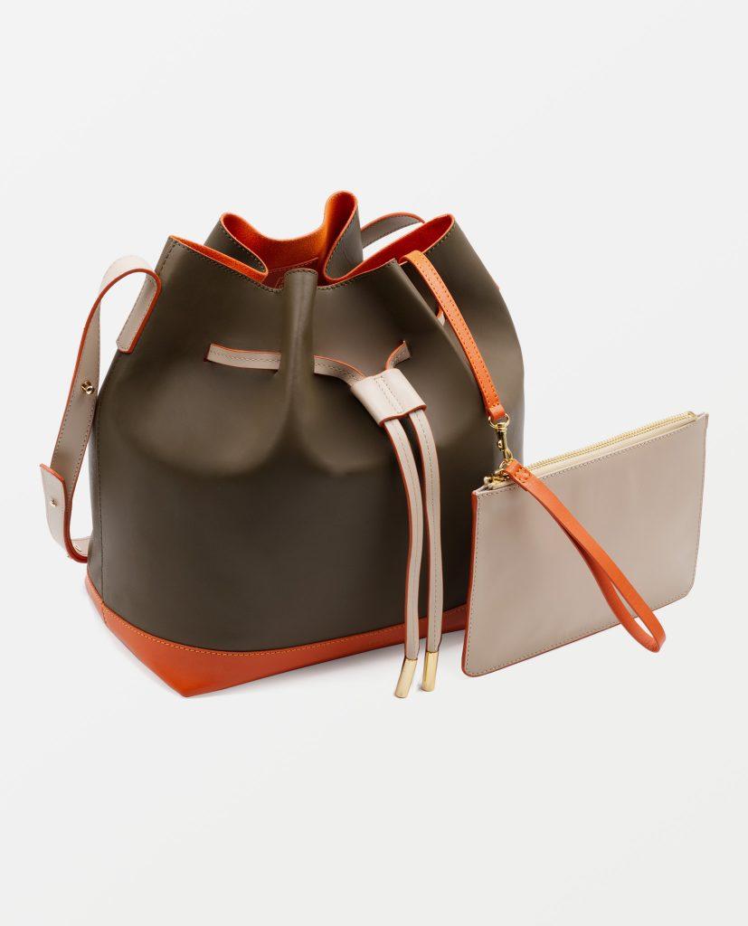 Soofre Smooth Leather Bucket Bag Color Khaki Orange