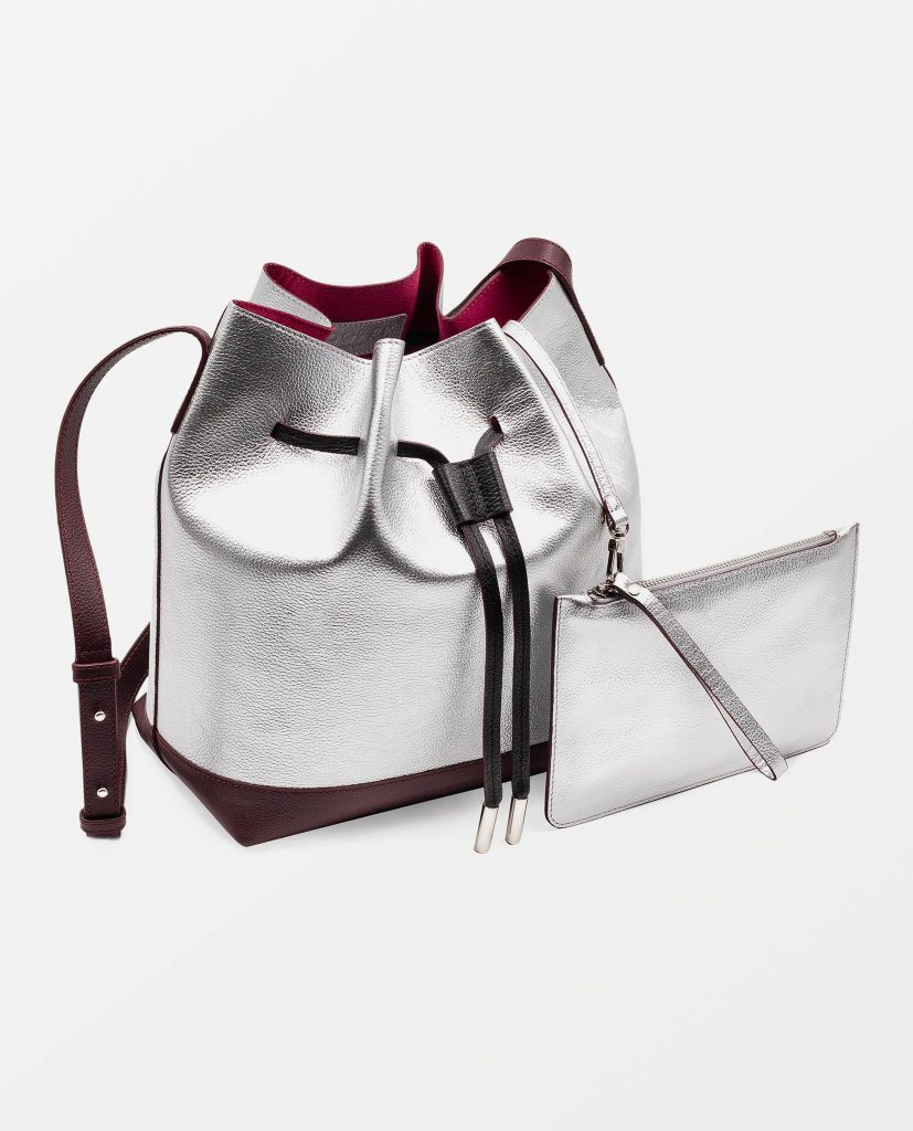 Soofre Grainy Leather Bucket Bag Color Silver Burgundy