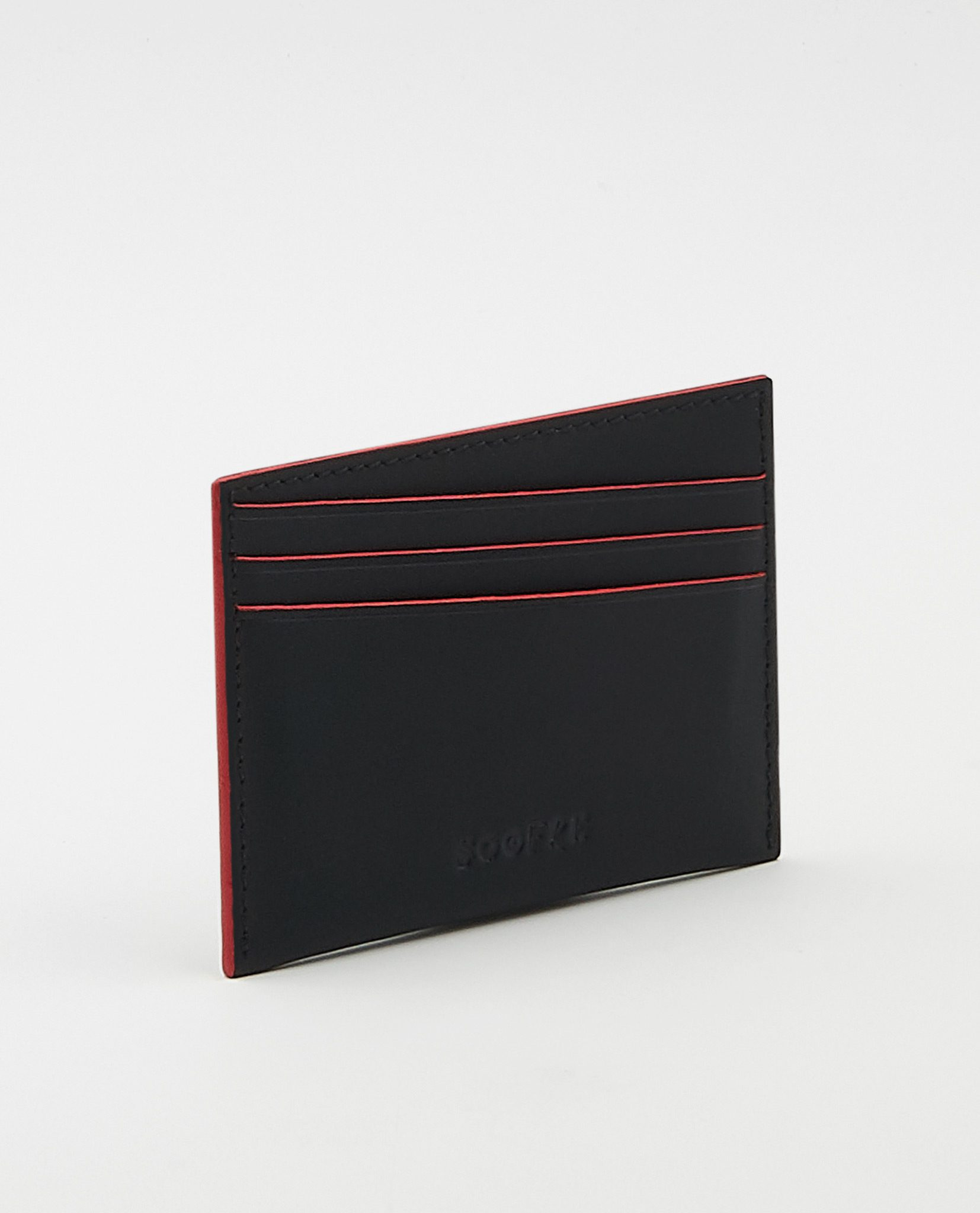 Soofre Vegetable Tanned Leather Card Holder Black Red