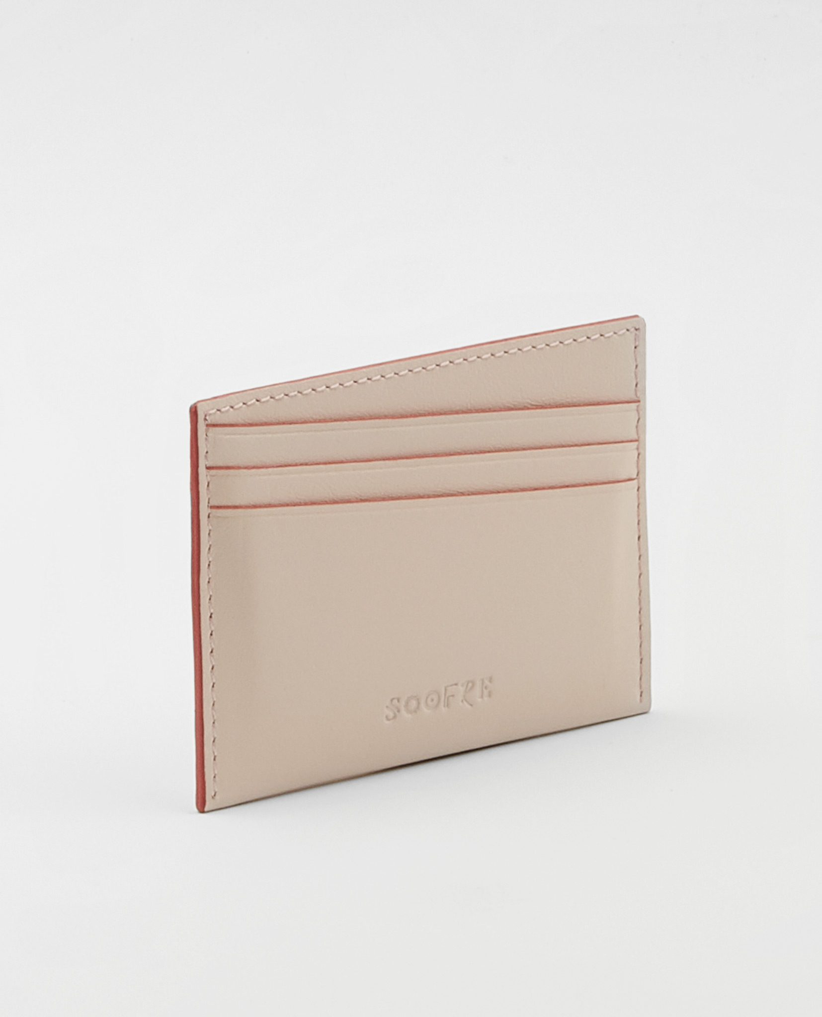 Soofre Card Holder Smooth Leather Blush-Coral
