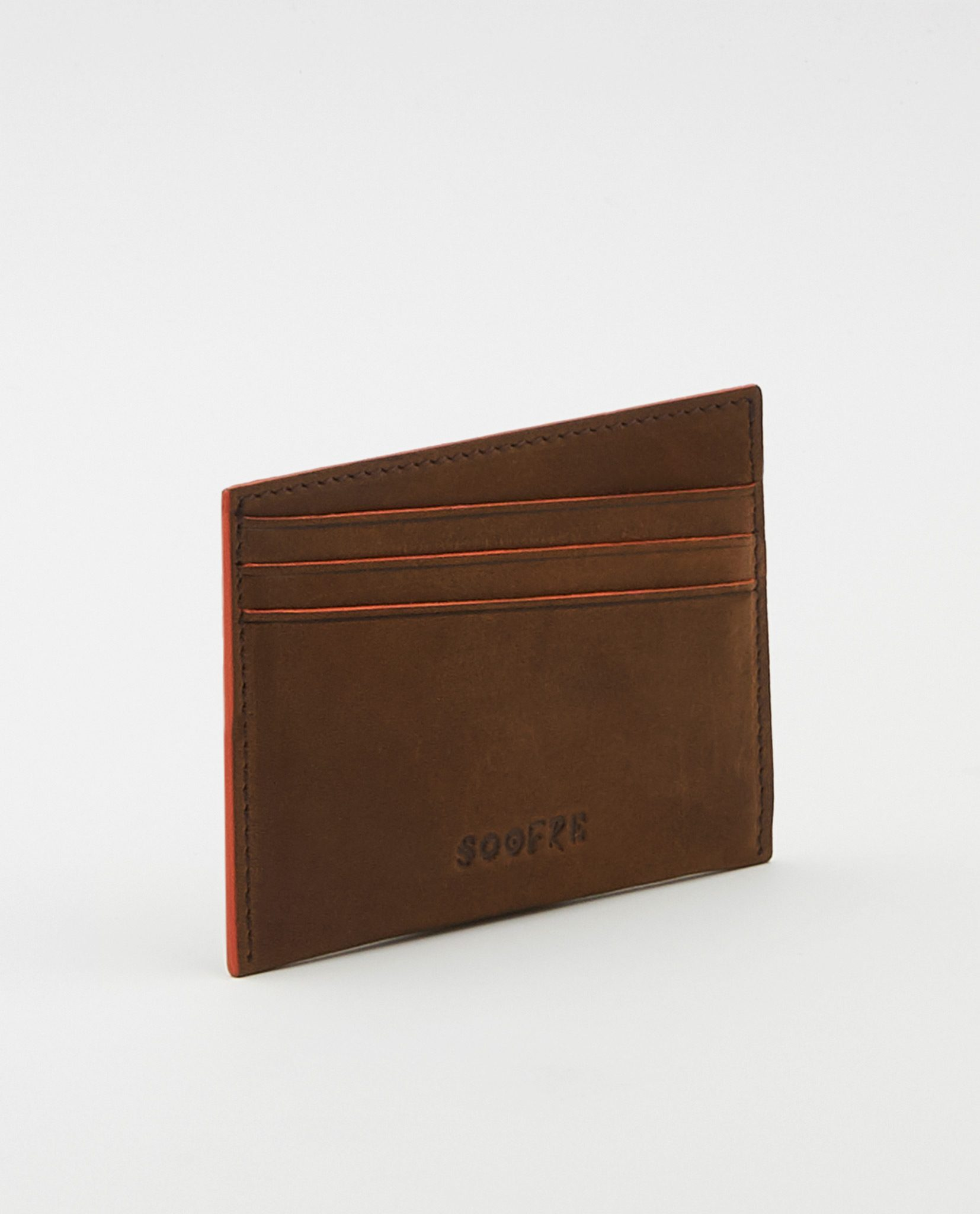 Soofre Vegetable Tanned Leather Card Holder Brown-Orange