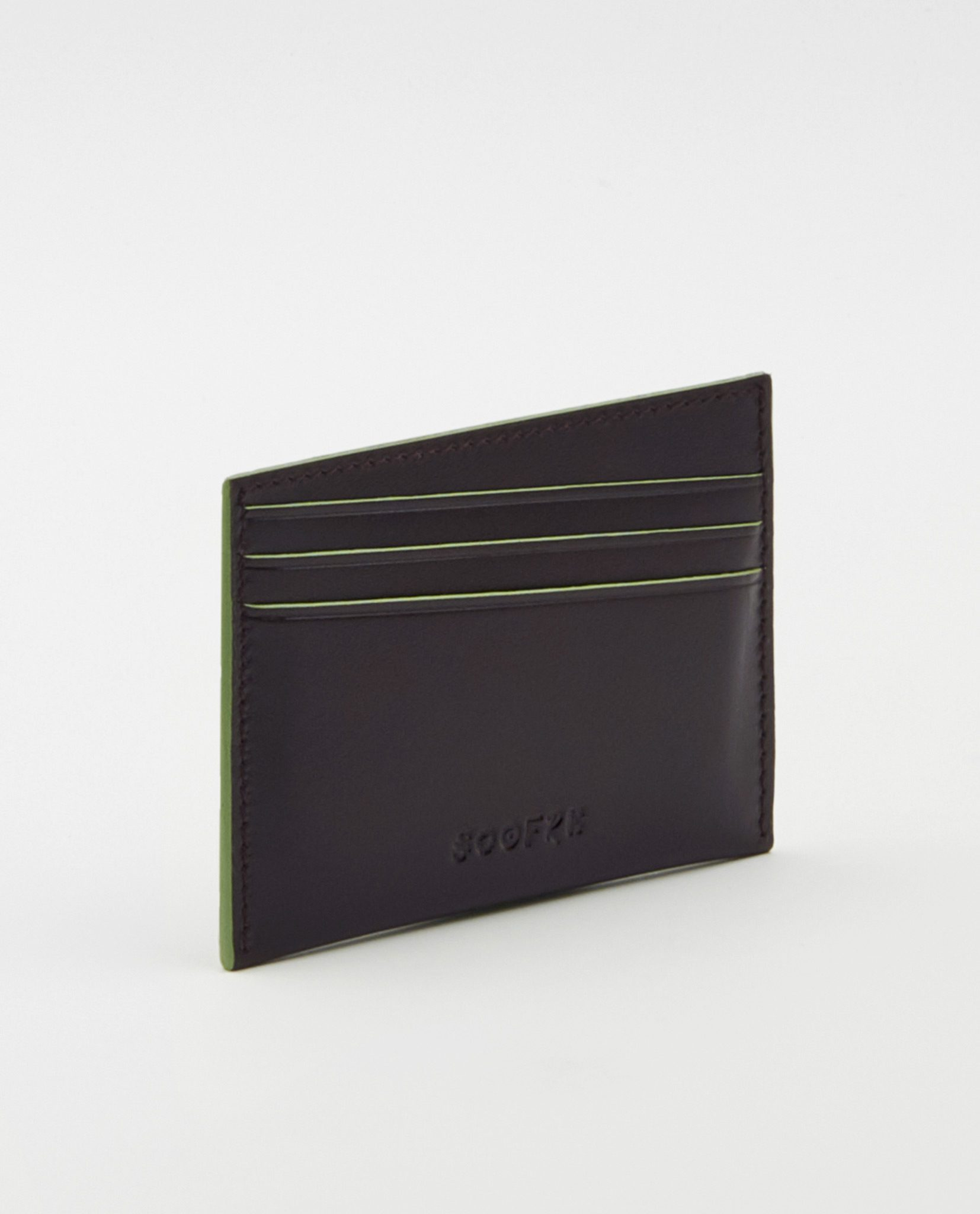 Soofre Card Holder Smooth Leather Burgundy-Khaki