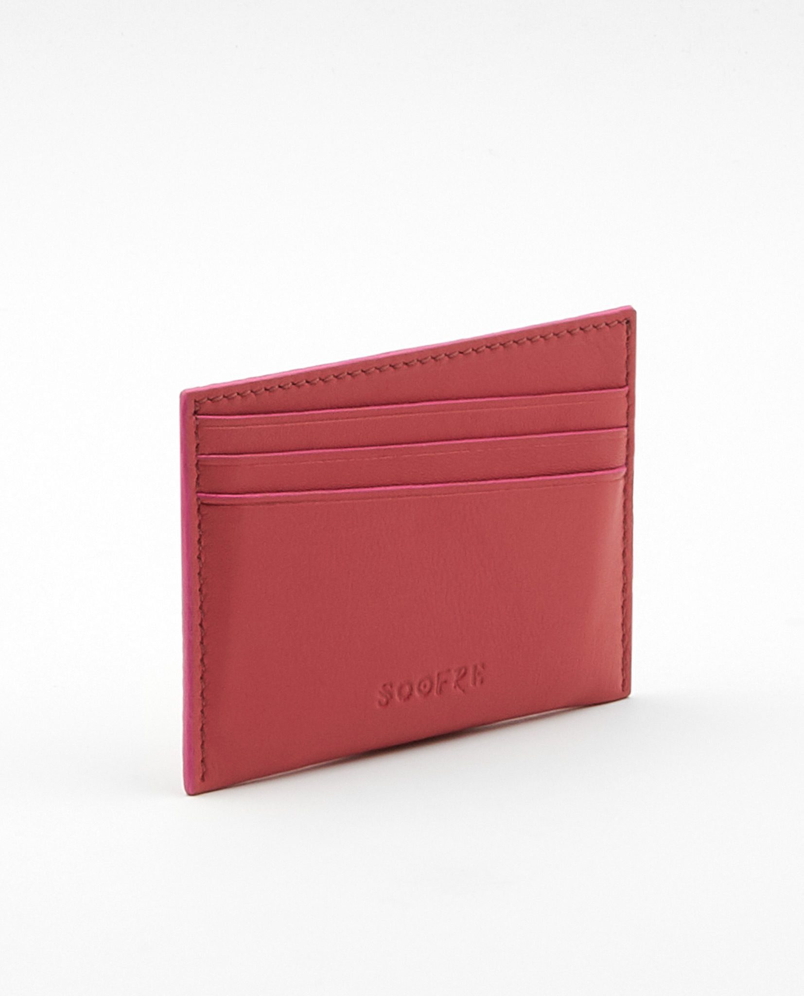Soofre Card Holder Smooth Leather Coral-Fuchsia