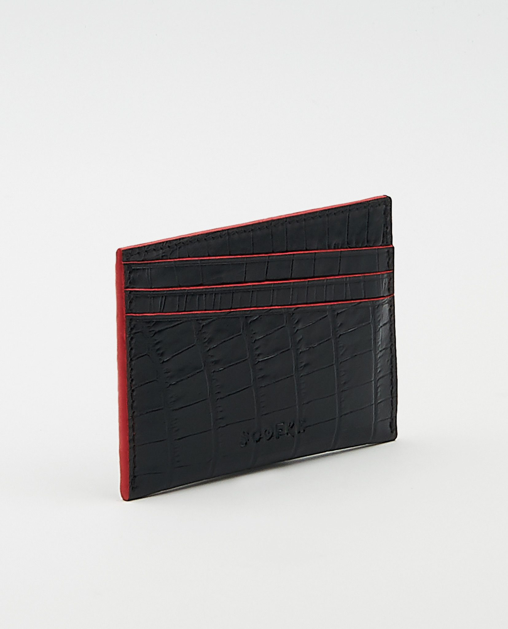 Soofre Card Holder Crocodile Embossed Leather Black-Red