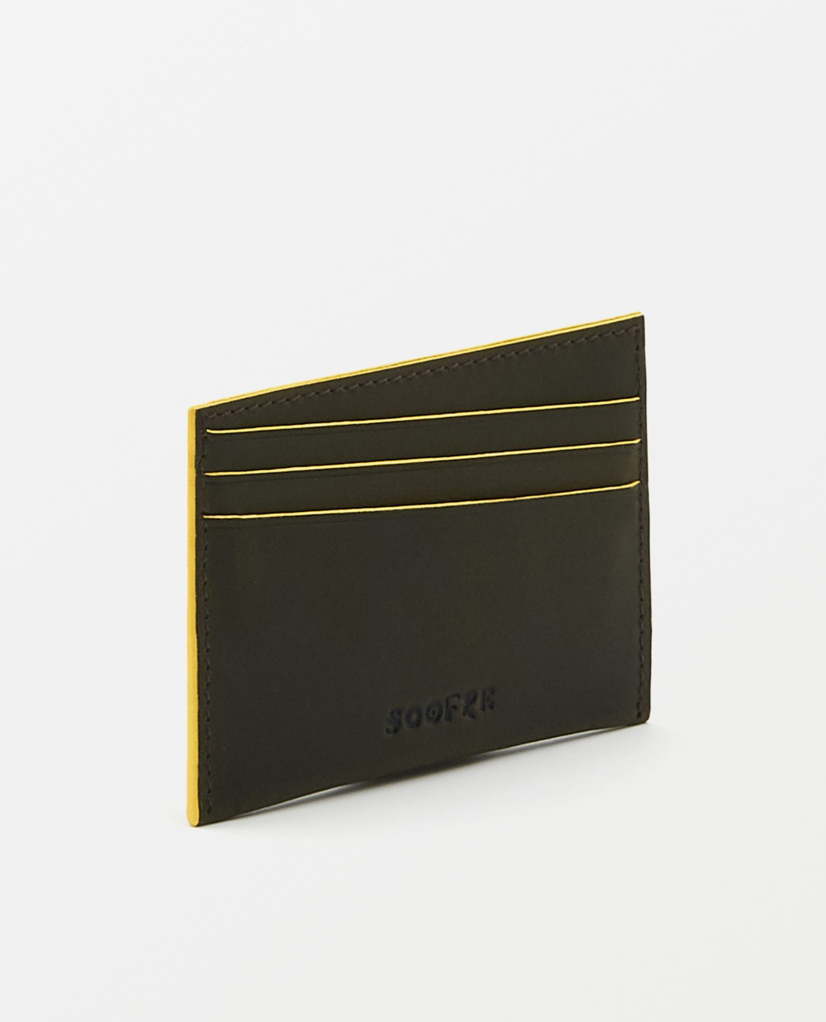 Soofre Vegetable Tanned Leather Card Holder Dark-Brown-Yellow