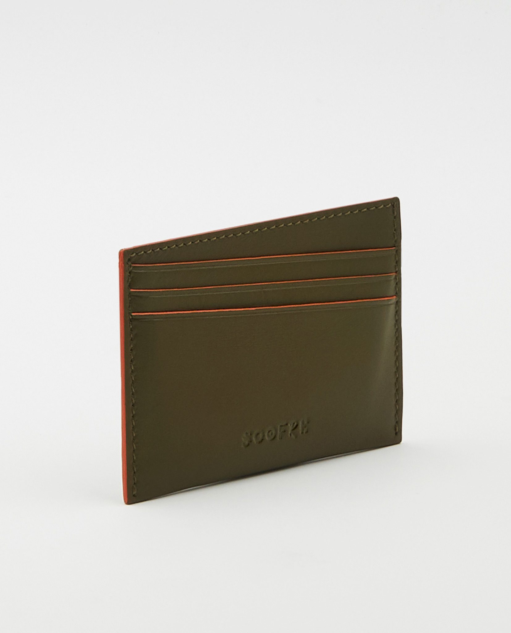Soofre Card Holder Smooth Leather Khaki Orange