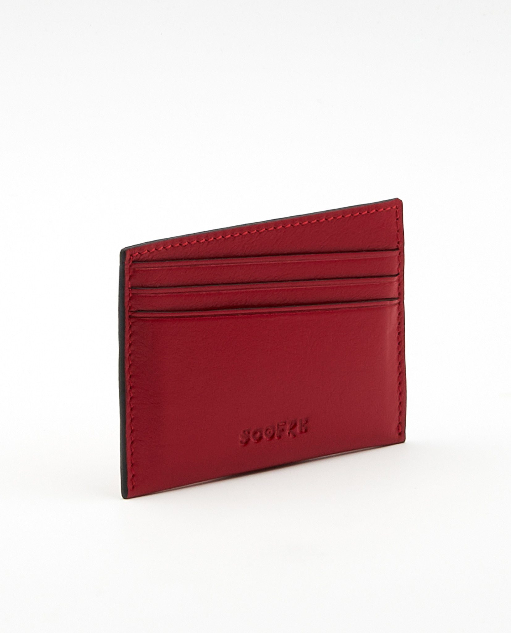 Soofre Card Holder Smooth Leather Red-Black