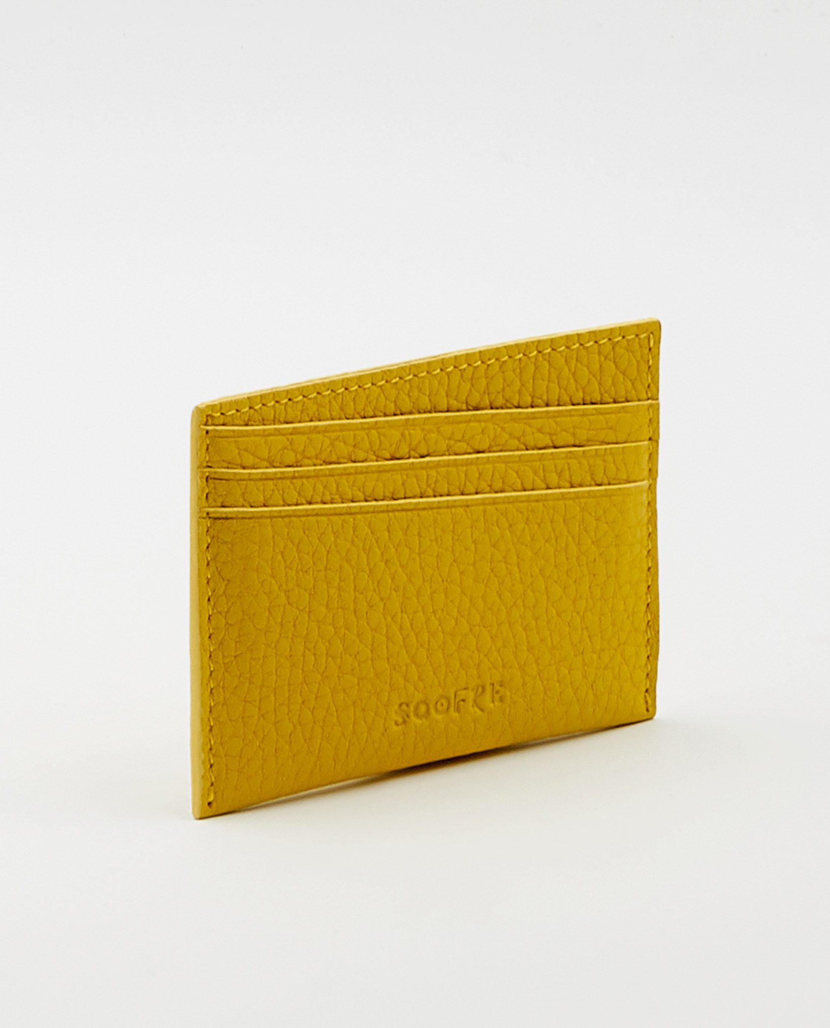 Soofre Card Holder Grainy Leather Yellow-Dove-Grey