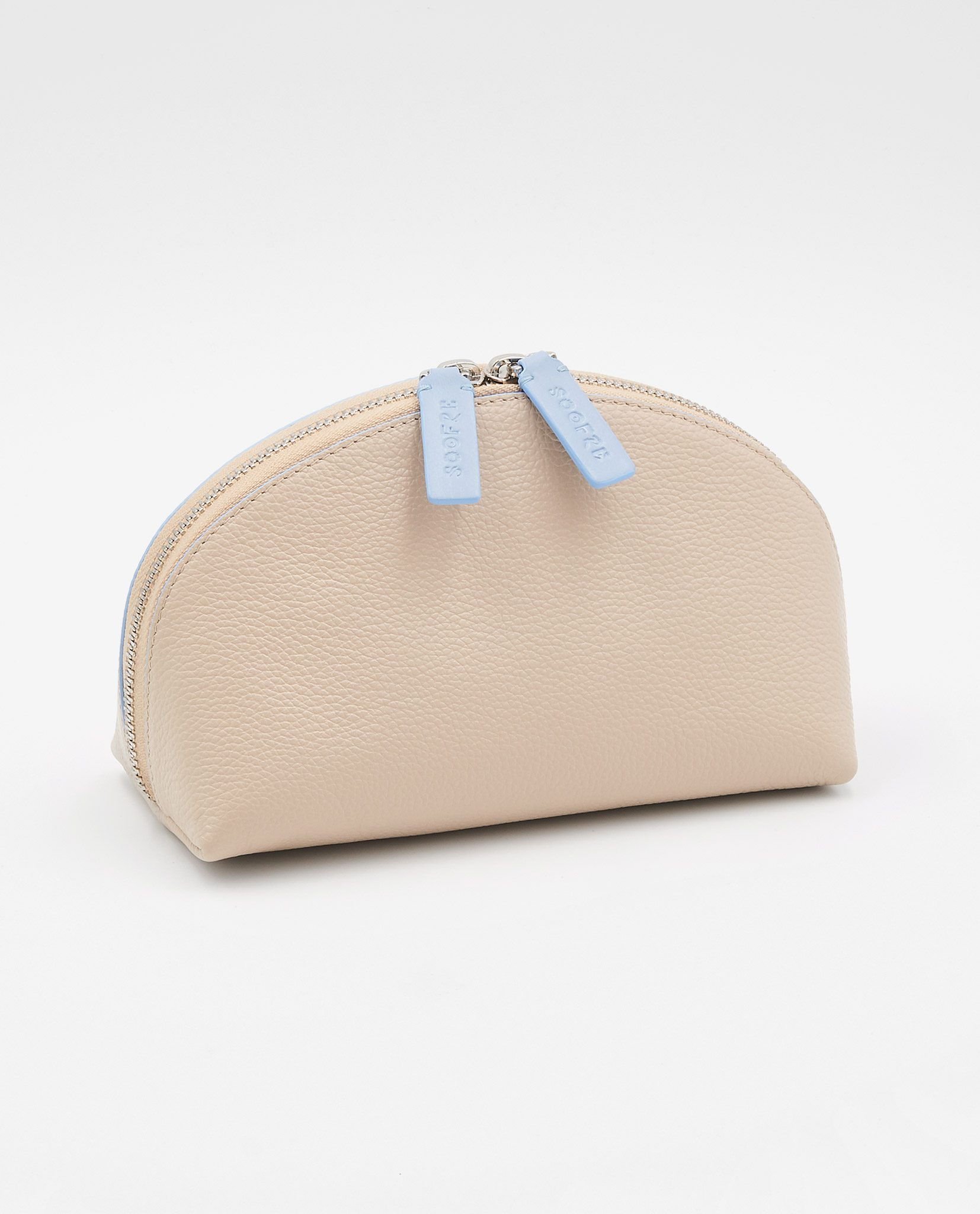 Soofre Grainy Leather Cosmetic Bag Cream Pale Blue