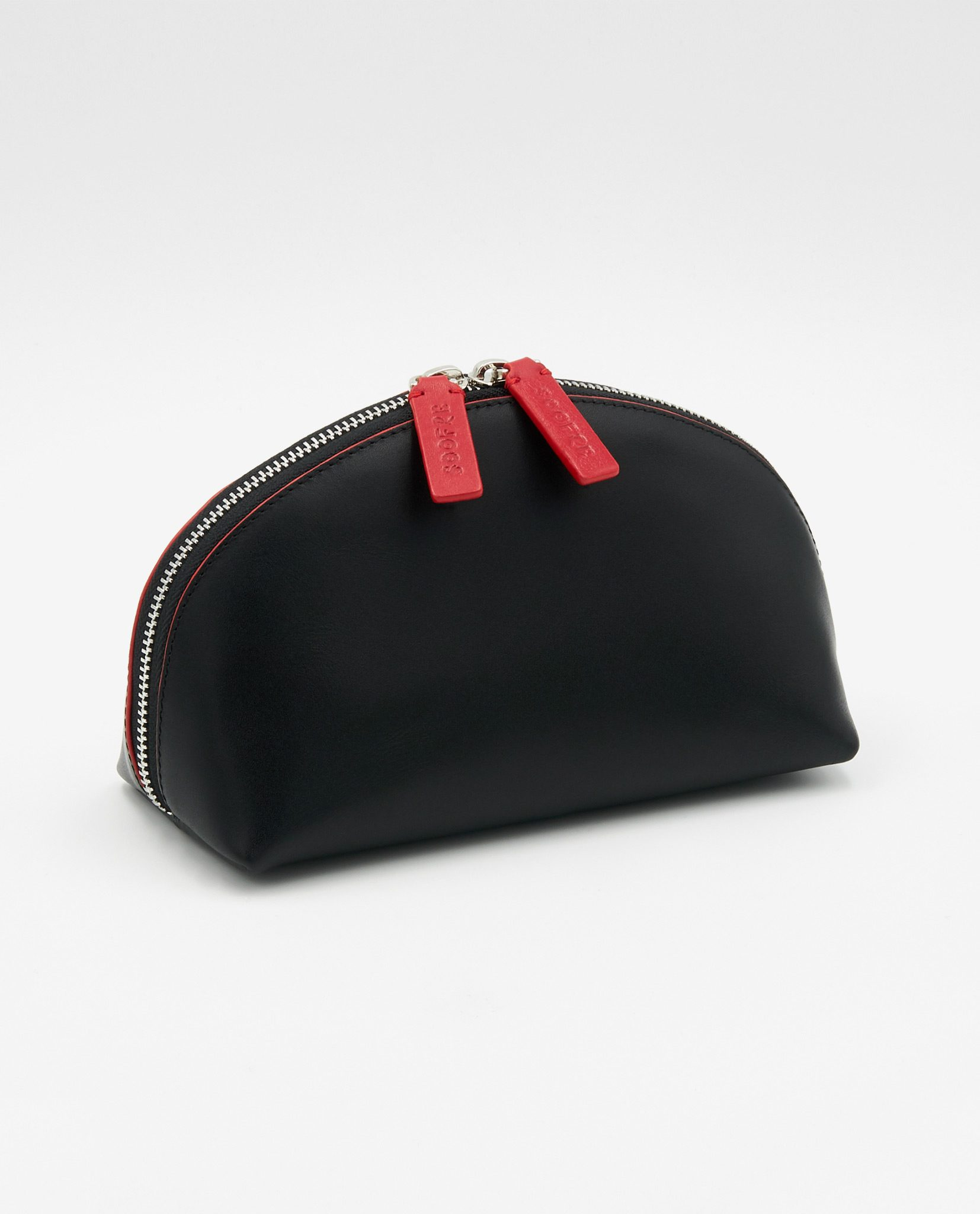 Soofre Smooth Leather Cosmetic Bag Black Red
