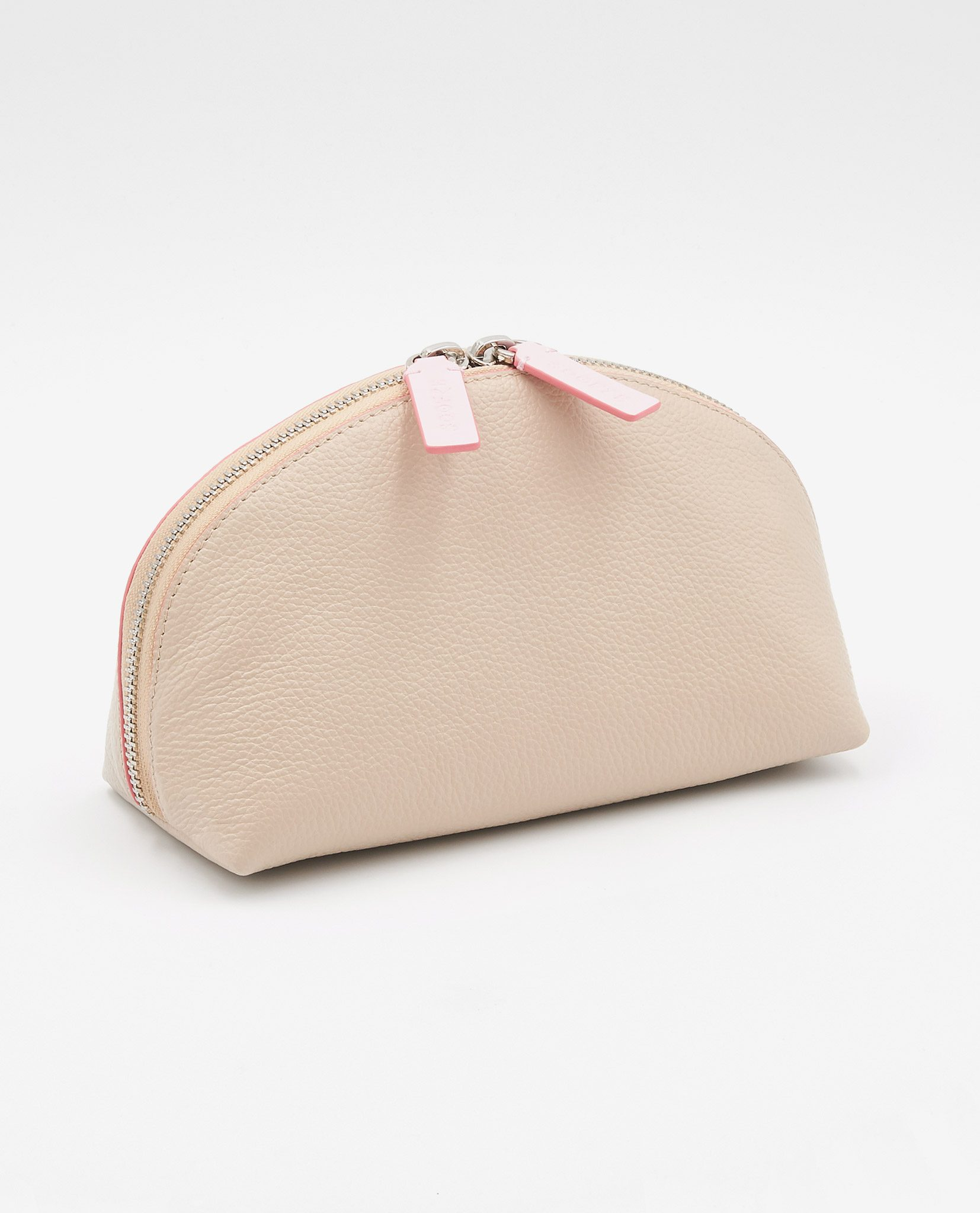 Soofre Grainy Leather Cosmetic Bag Cream Pale Pink