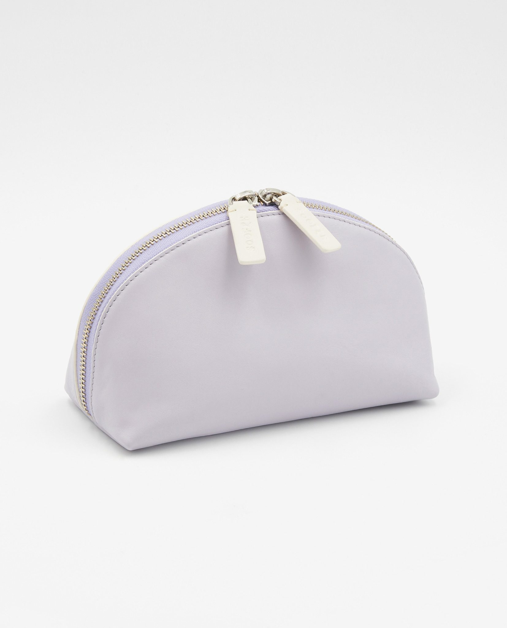 Soofre Smooth Leather Cosmetic Bag Lilac Beige