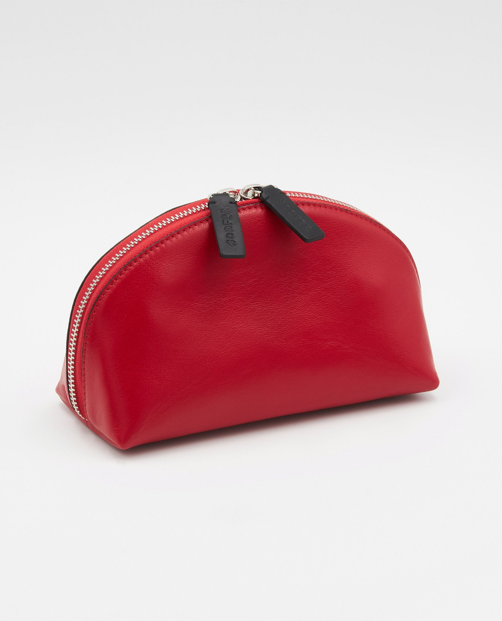 Soofre Smooth Leather Cosmetic Bag Red Black