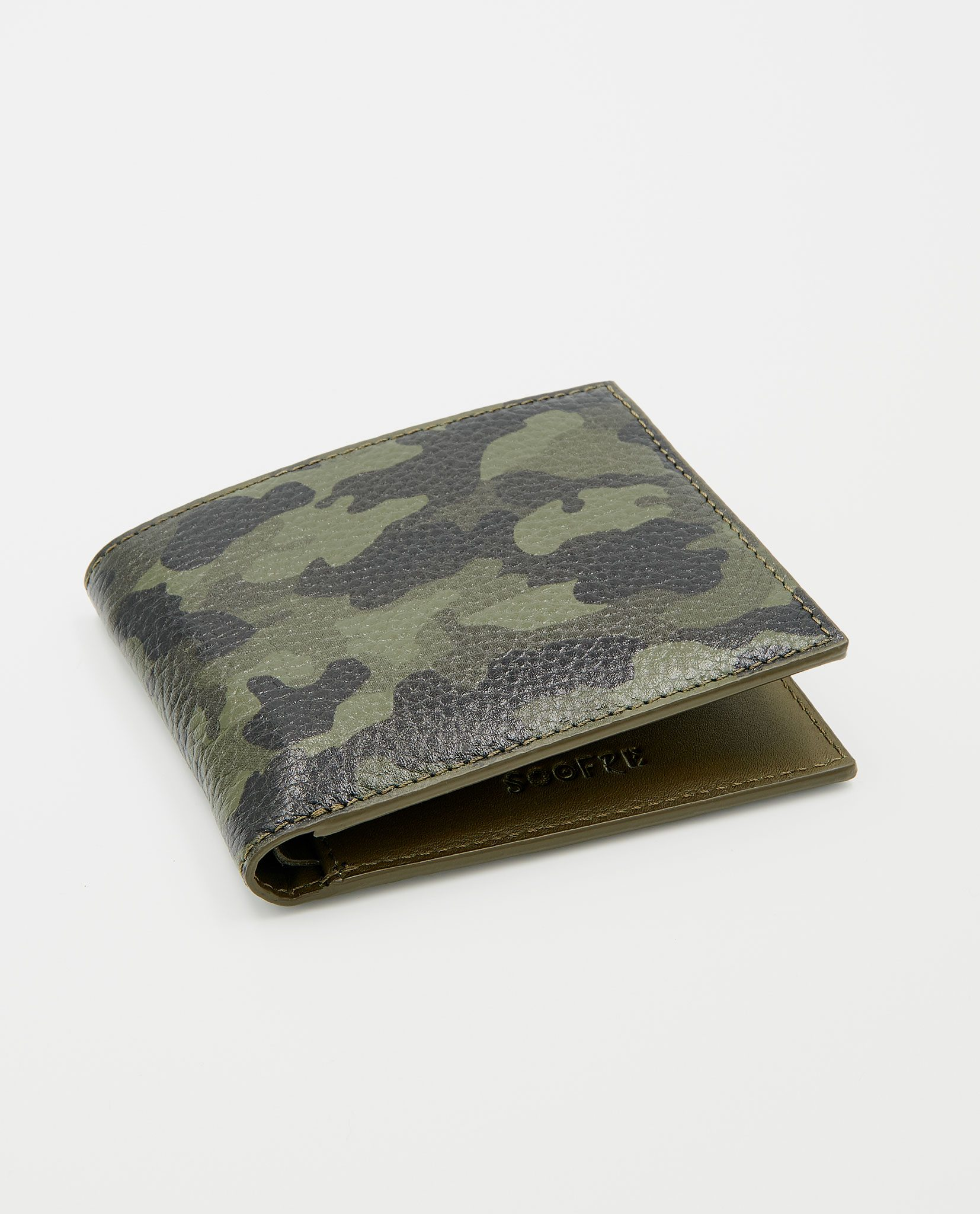 Soofre Men's Wallet Grainy Leather Camouflage-Khaki
