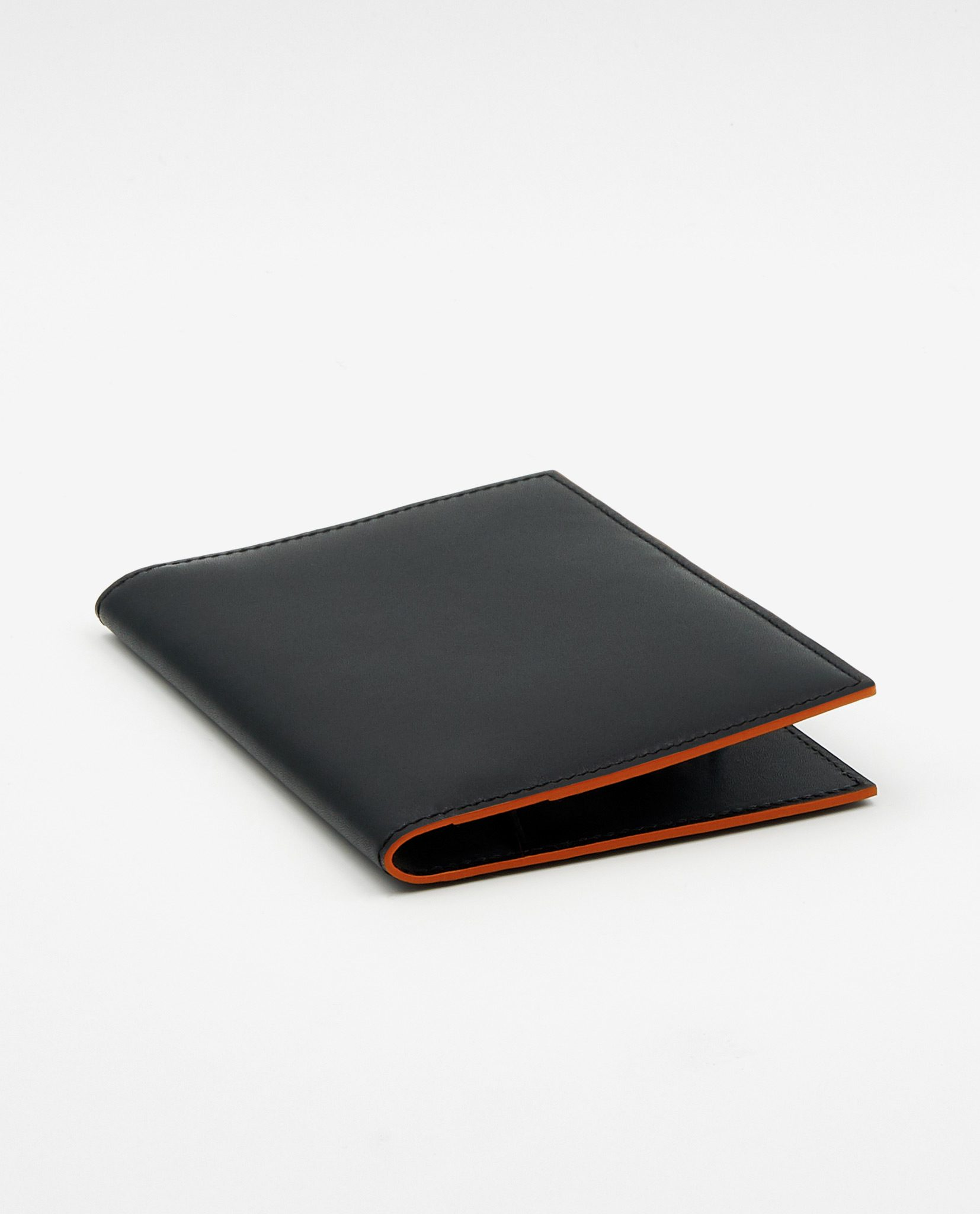 Soofre Smooth Leather Passport Holder Color Black Orange