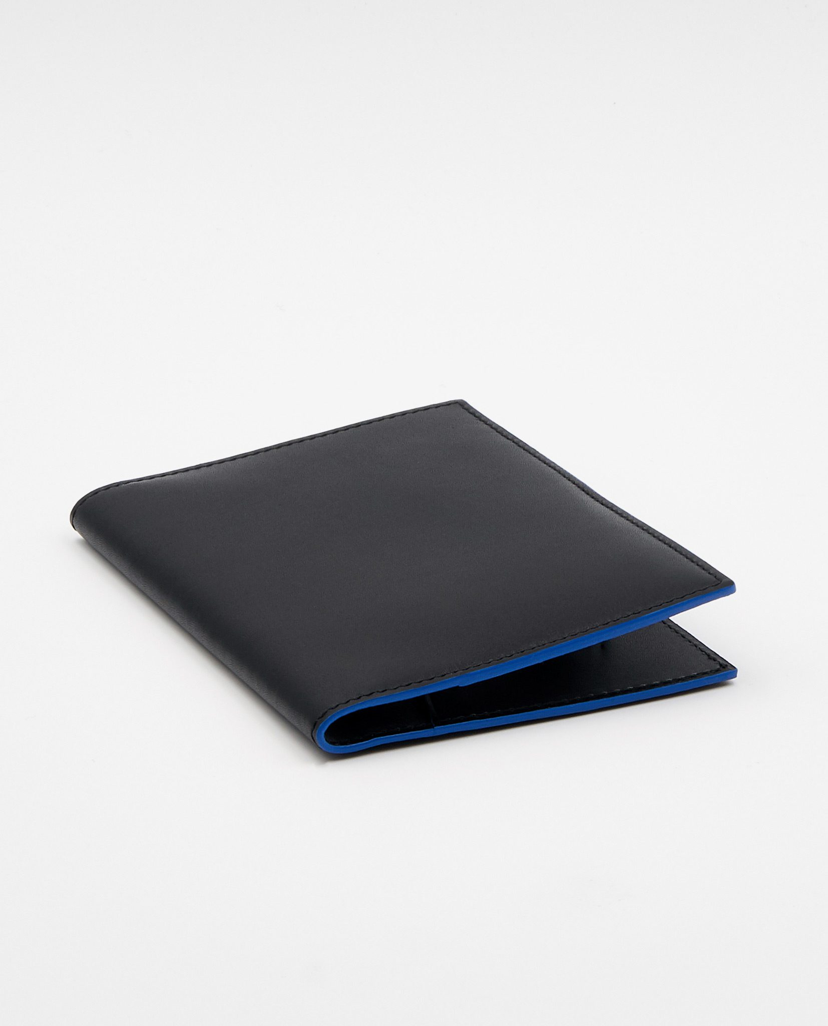Soofre Smooth Leather Passport Holder Color Black Royal Blue