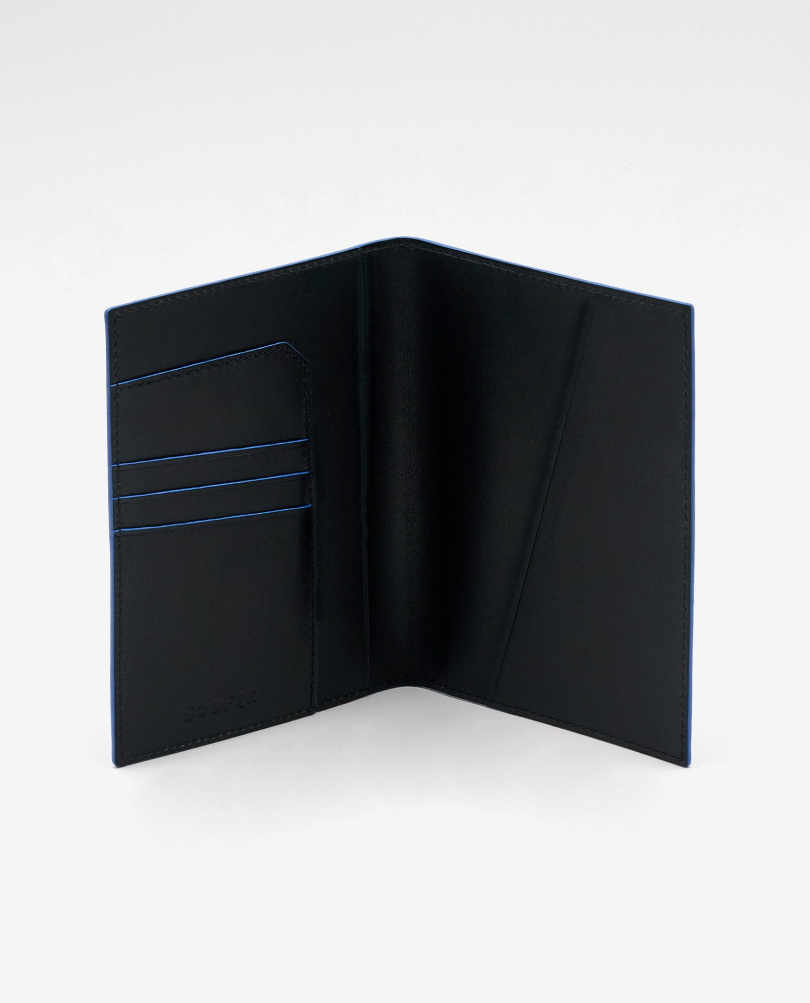 Soofre Smooth Leather Passport Holder Color Black Royal Blue