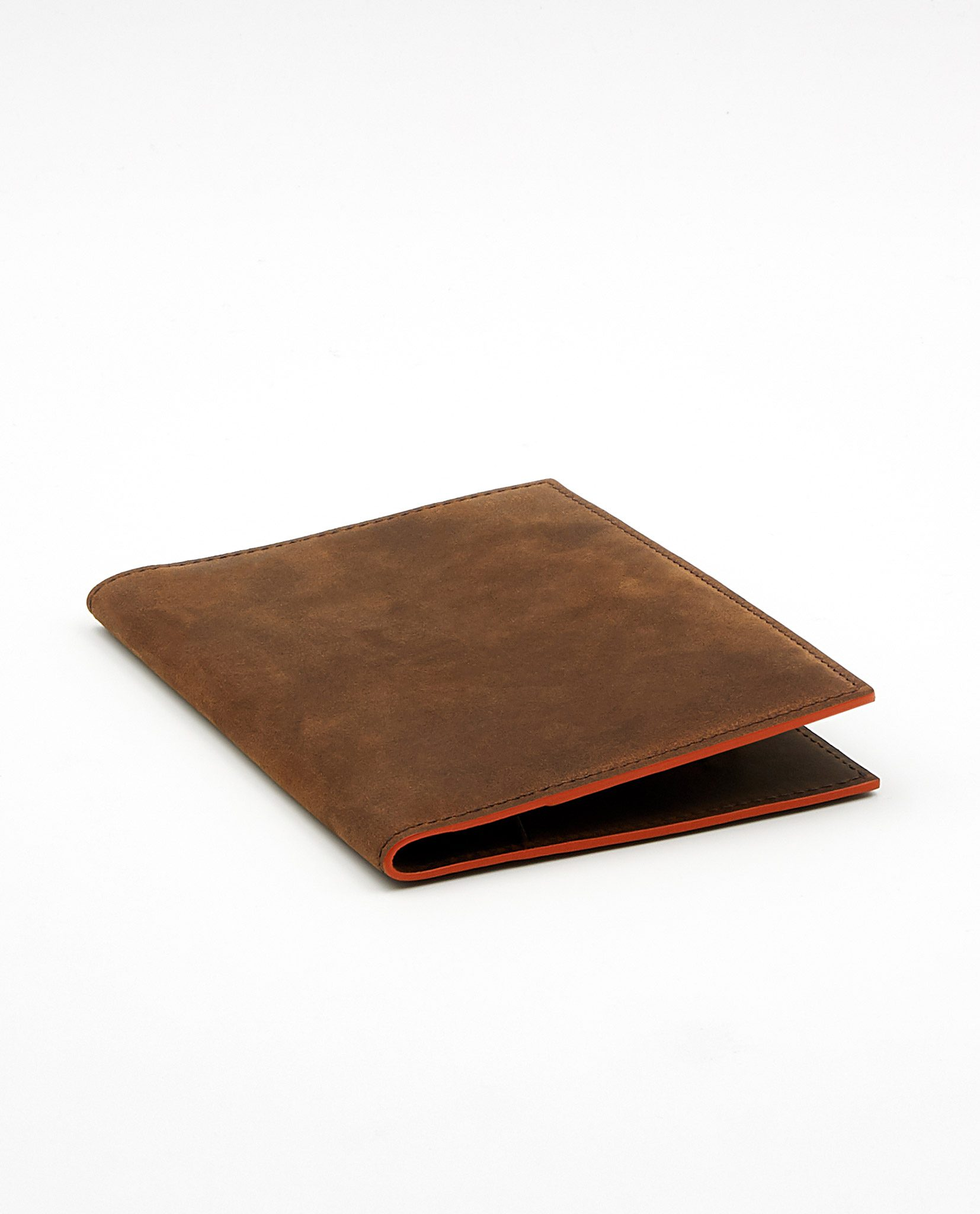 Soofre Vintage Vegetable Tanned Leather Passport Holder Color Brown Orange