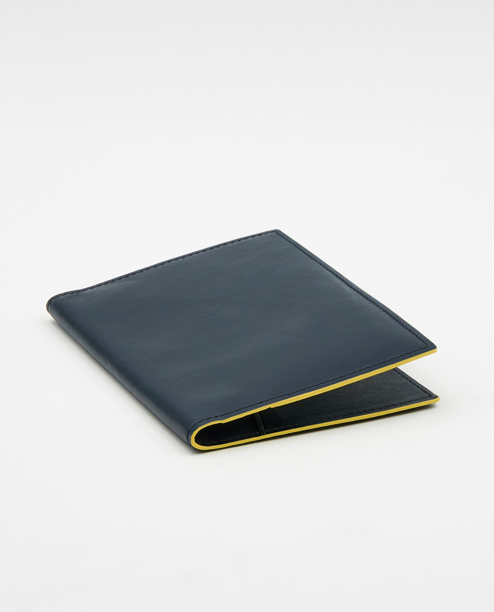 Soofre Smooth Leather Passport Holder Color Navy Yellow