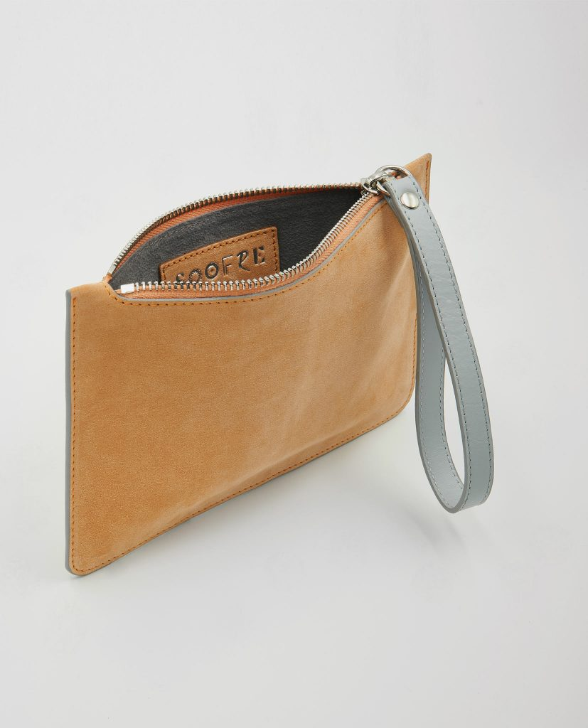 Soofre Small Suede Leather Pouch Apricot-Dove-Grey