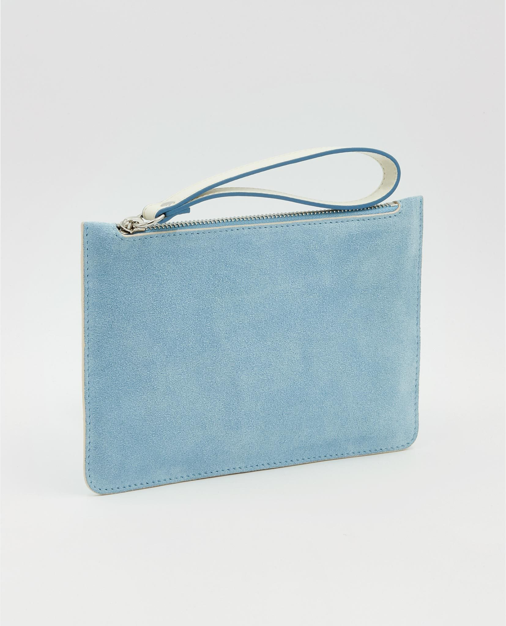 Soofre Small Suede Leather Pouch Arctic-Blue-Beige