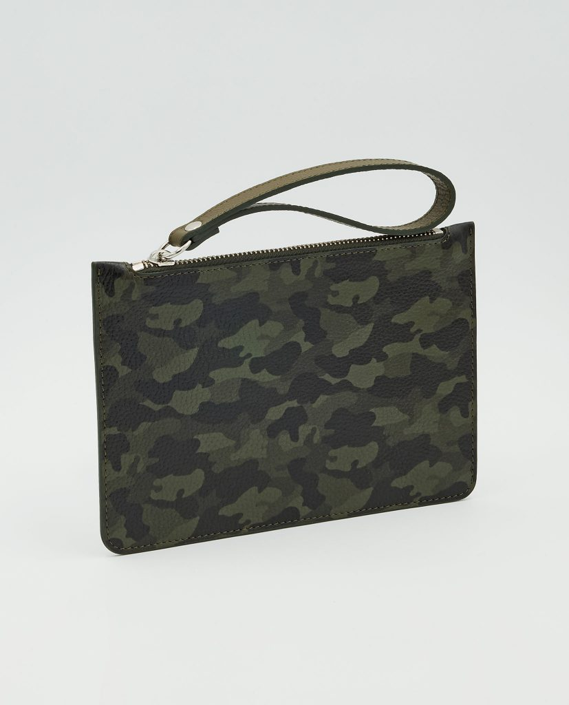 Soofre Grainy Leather Small Pouch Camouflage-Khaki