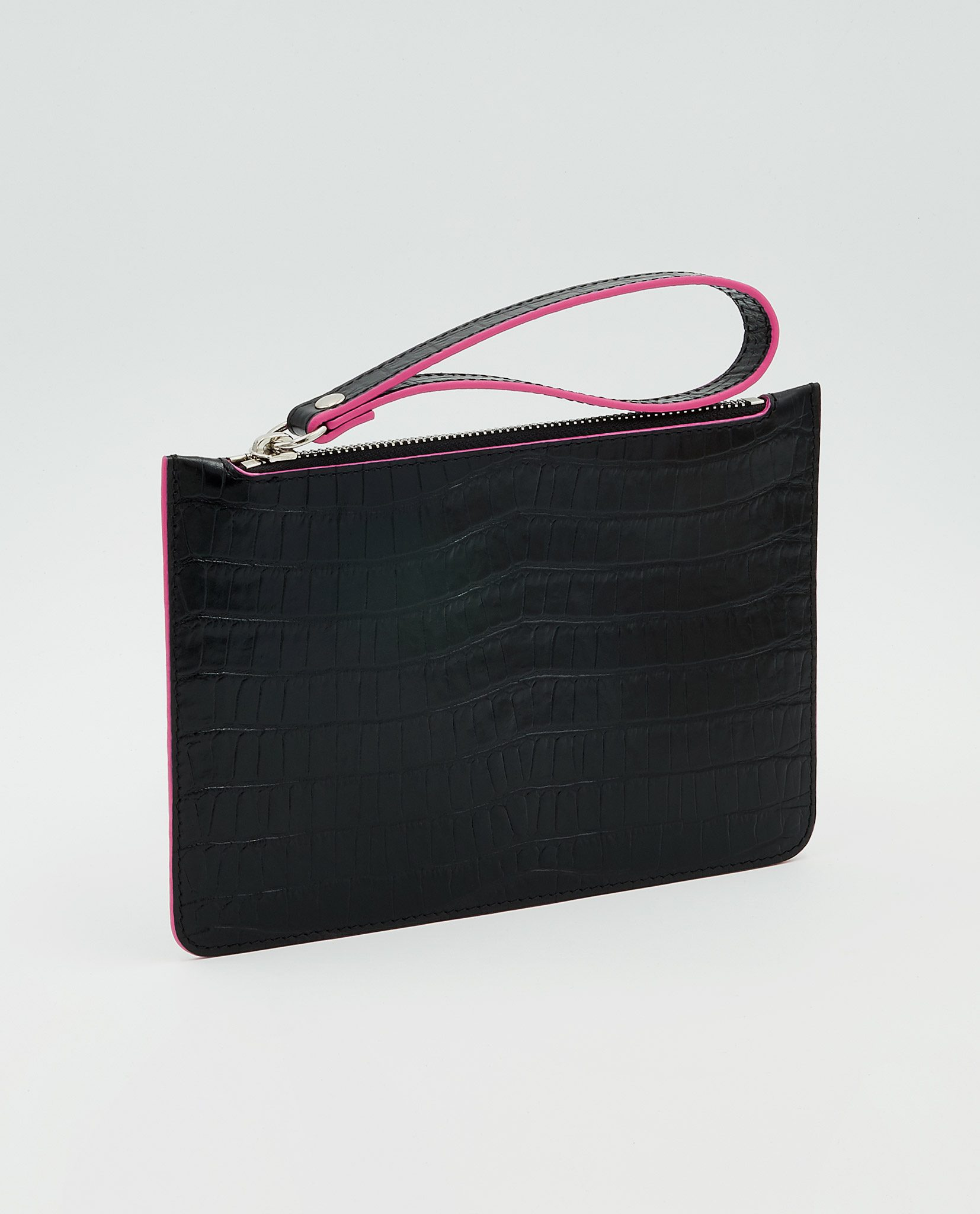 Soofre Small Pouch Crocodile Embossed Leather Black-Fuchsia