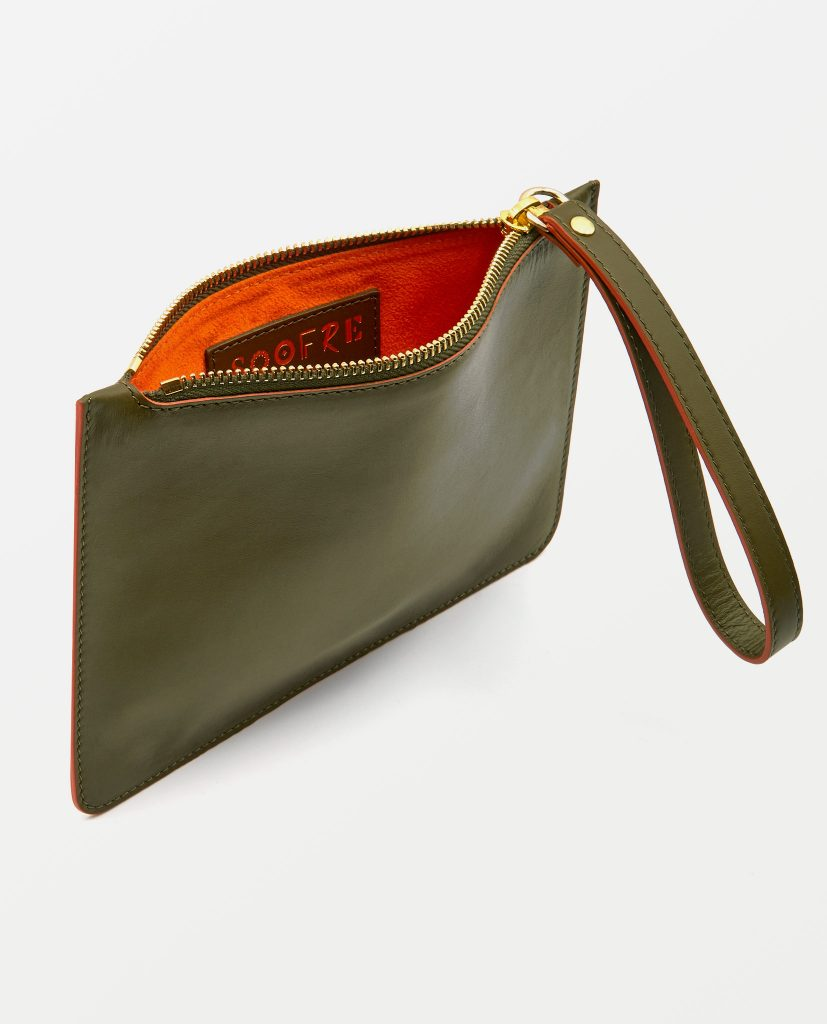 Soofre Small Smooth Leather Pouch Khaki-Orange