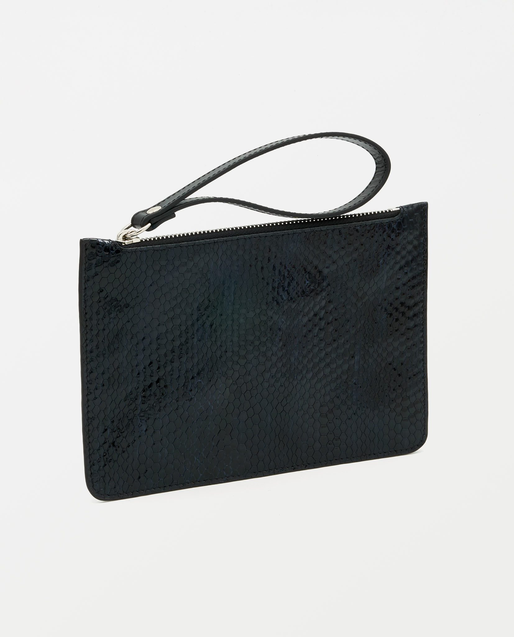 Soofre Small Souch Shiny Snake Embossed Leather Midnight-Blue-Black