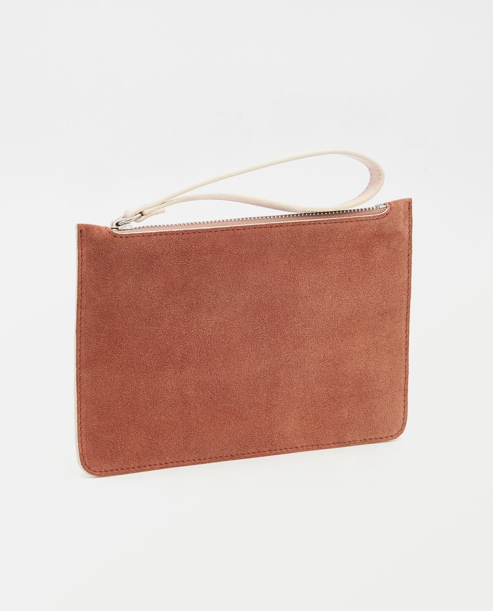 Soofre Small Suede Leather Pouch Rose-Blush
