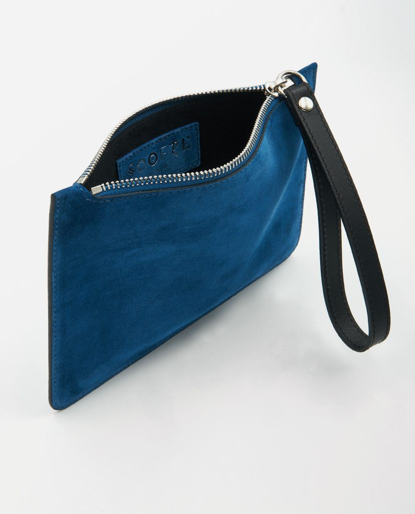Soofre Small Suede Leather Pouch Sapphire-Blue-Black