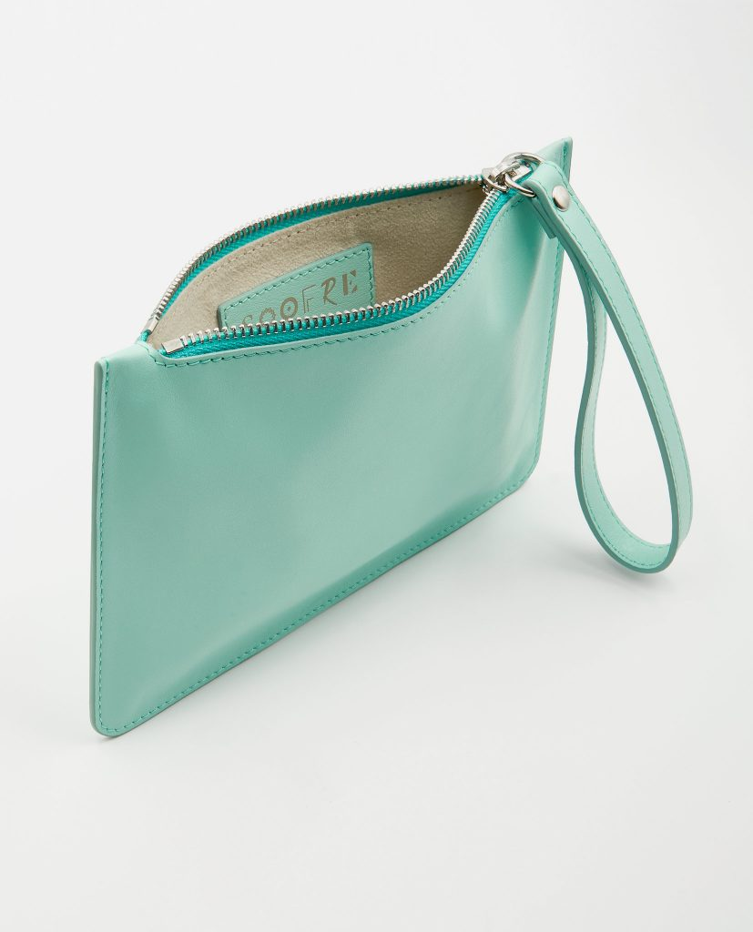 Soofre Small Smooth Leather Pouch Turquise