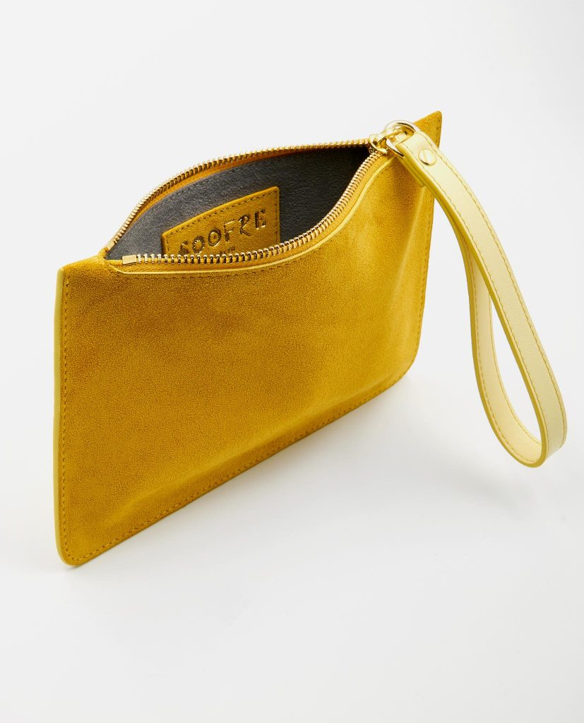 Soofre Small Suede Leather Pouch Yellow