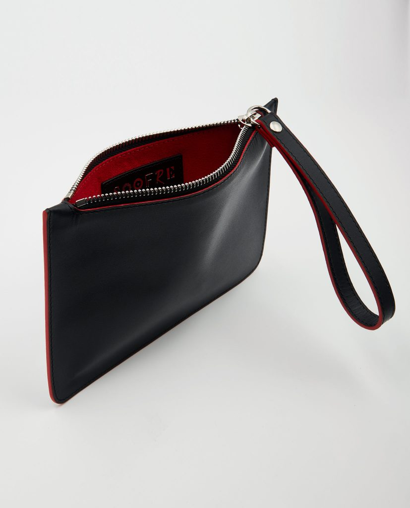 Soofre Small Smooth Leather Pouch black-red