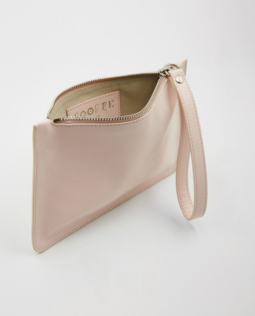 Soofre Small Smooth Leather Pouch Blush
