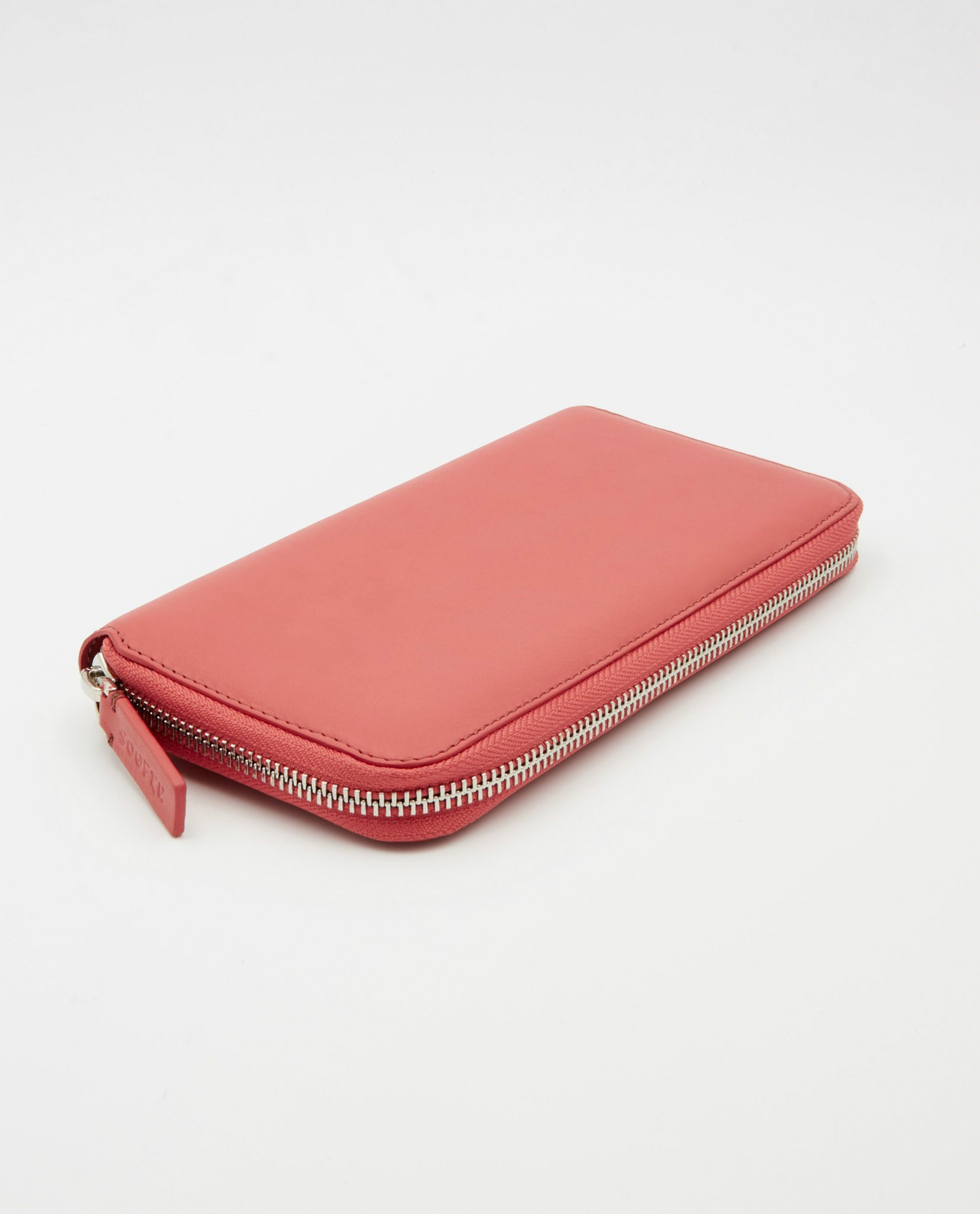 Soofre Women's Zip Wallet Smooth Leather Coral-Blush