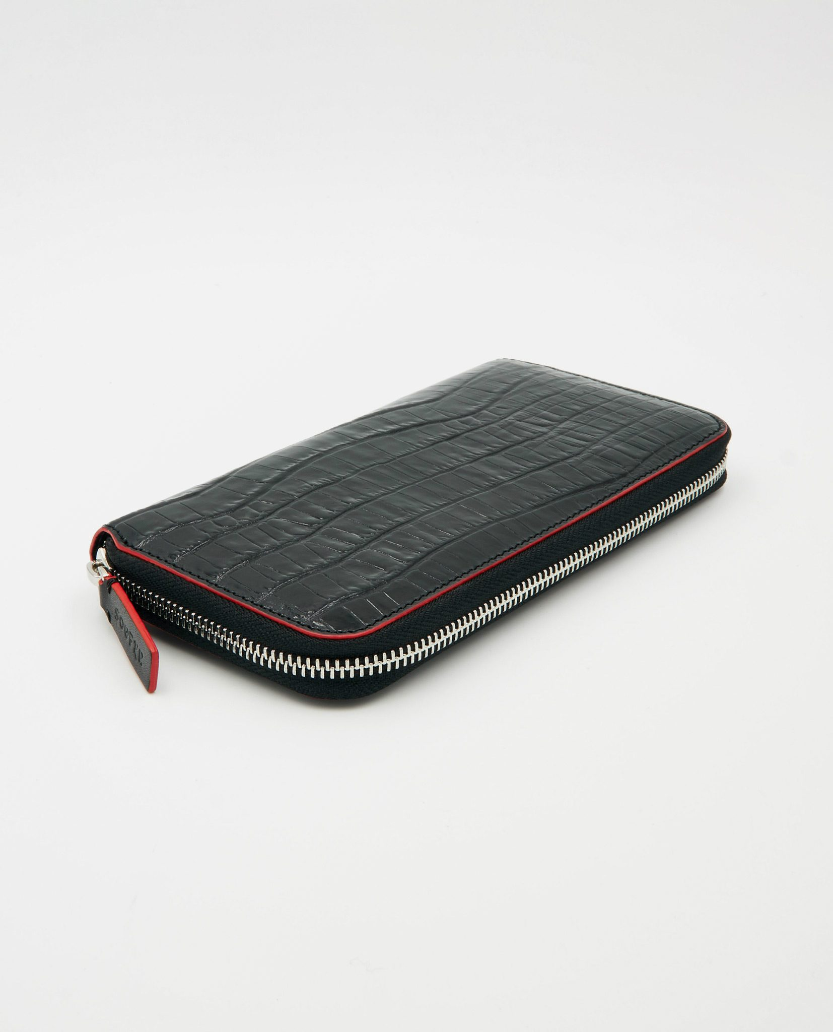Soofre Women's Zip Wallet Crocodile Embossed Leather Black-Red