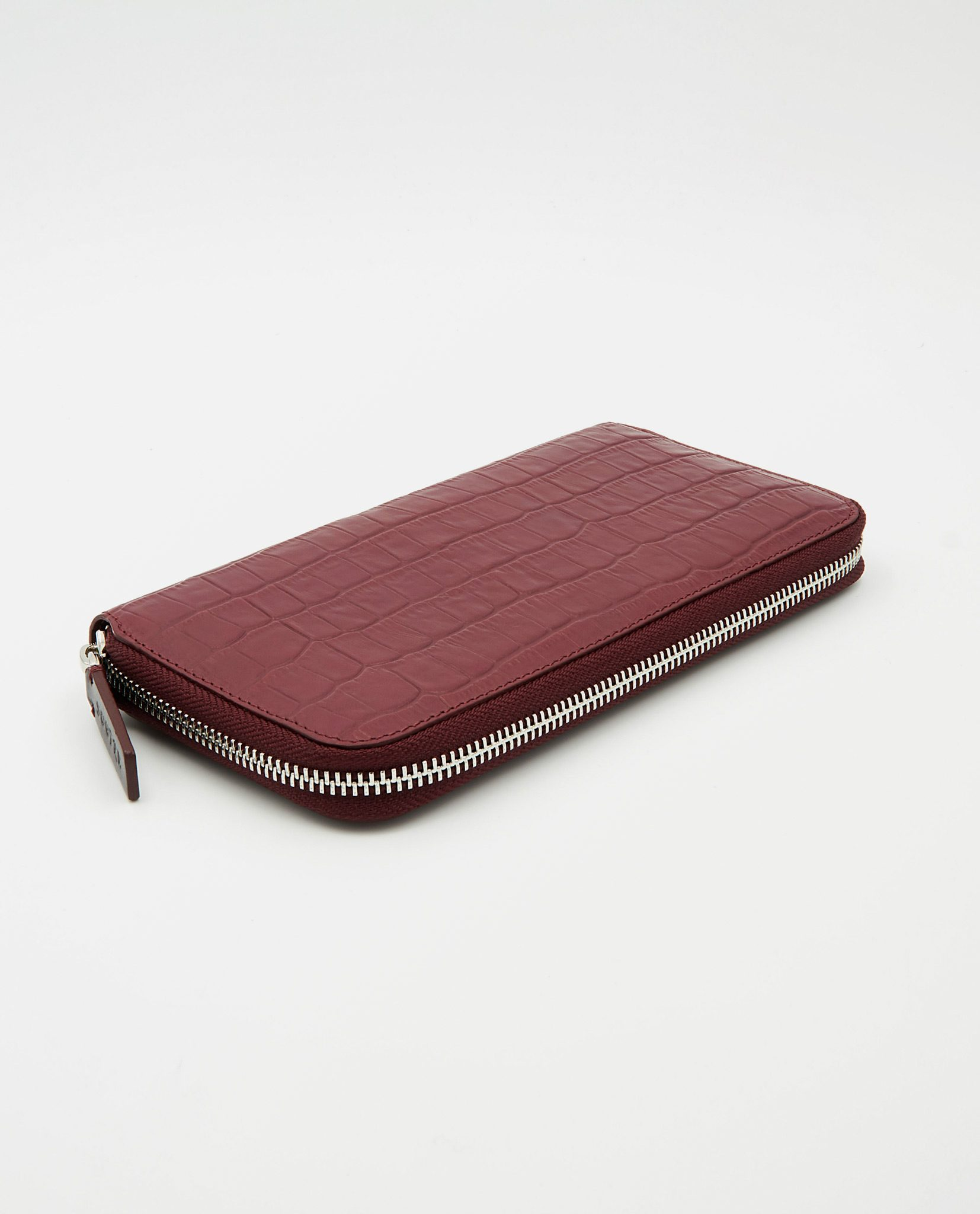 Soofre Women's Zip Wallet Crocodile Embossed Leather Burgundy-Blush