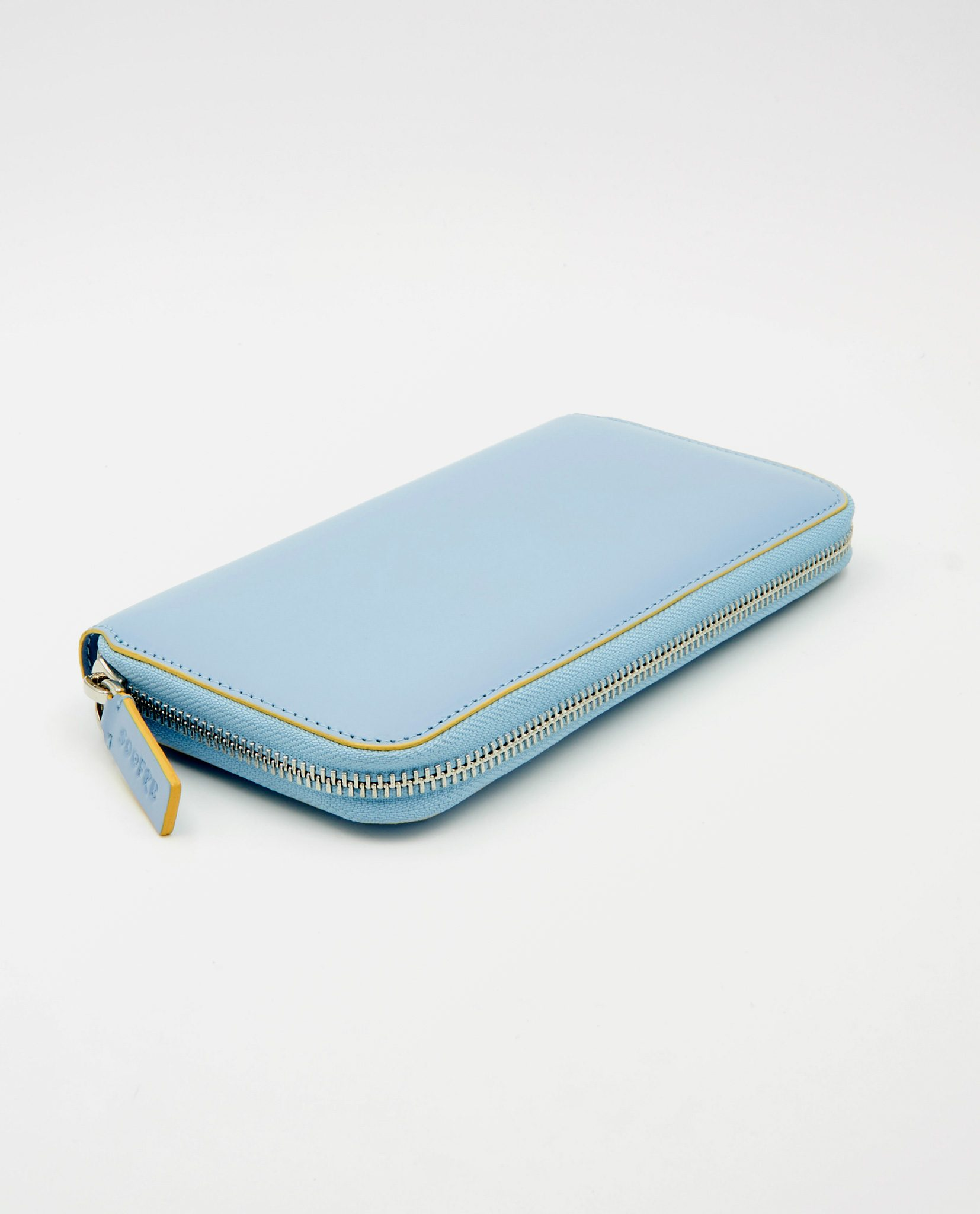Soofre Women's Zip Wallet Smooth Leather Pale-Blue-Light-Yellow