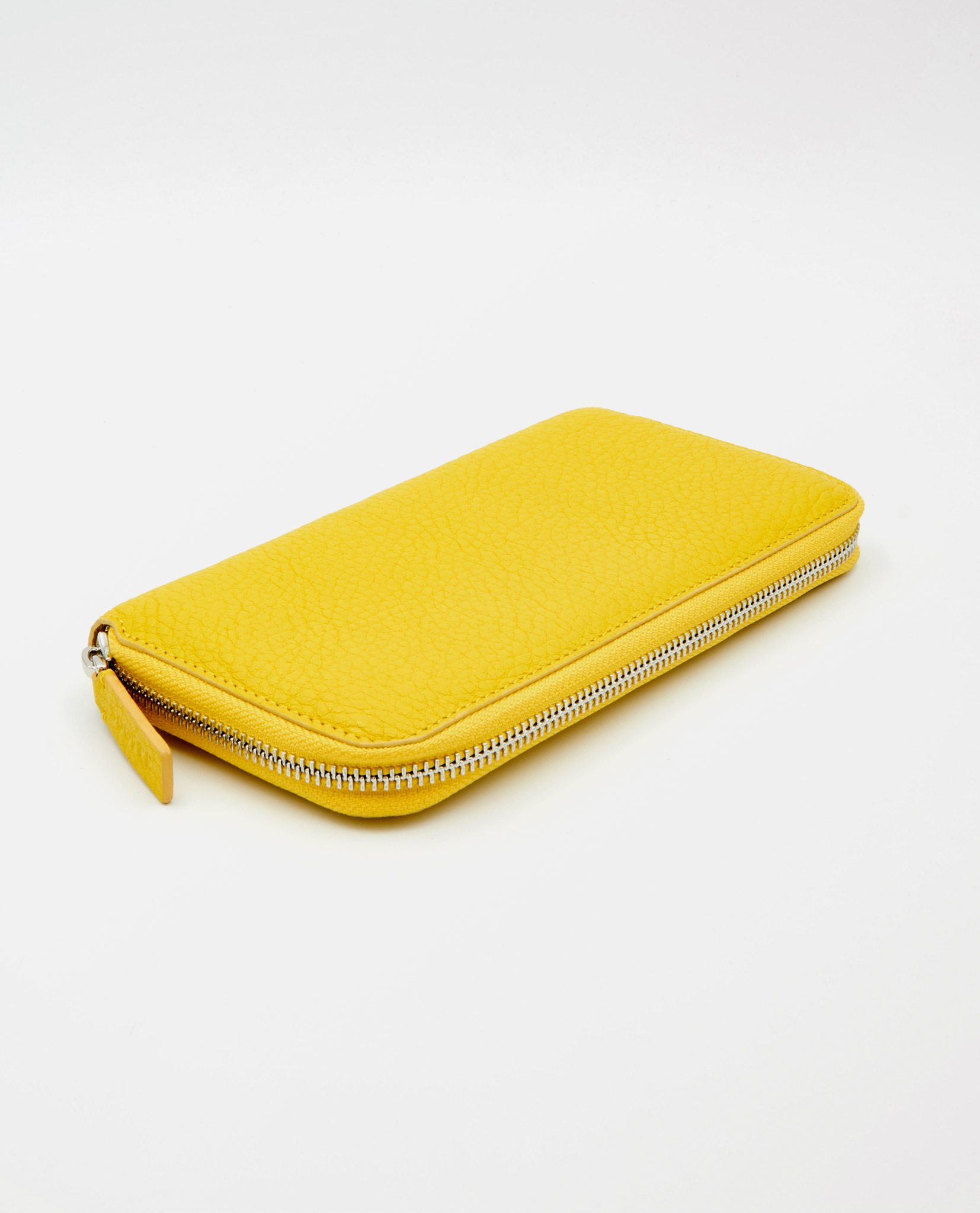 Soofre Women's Zip Wallet Grainy Leather Yellow-Dove-Grey