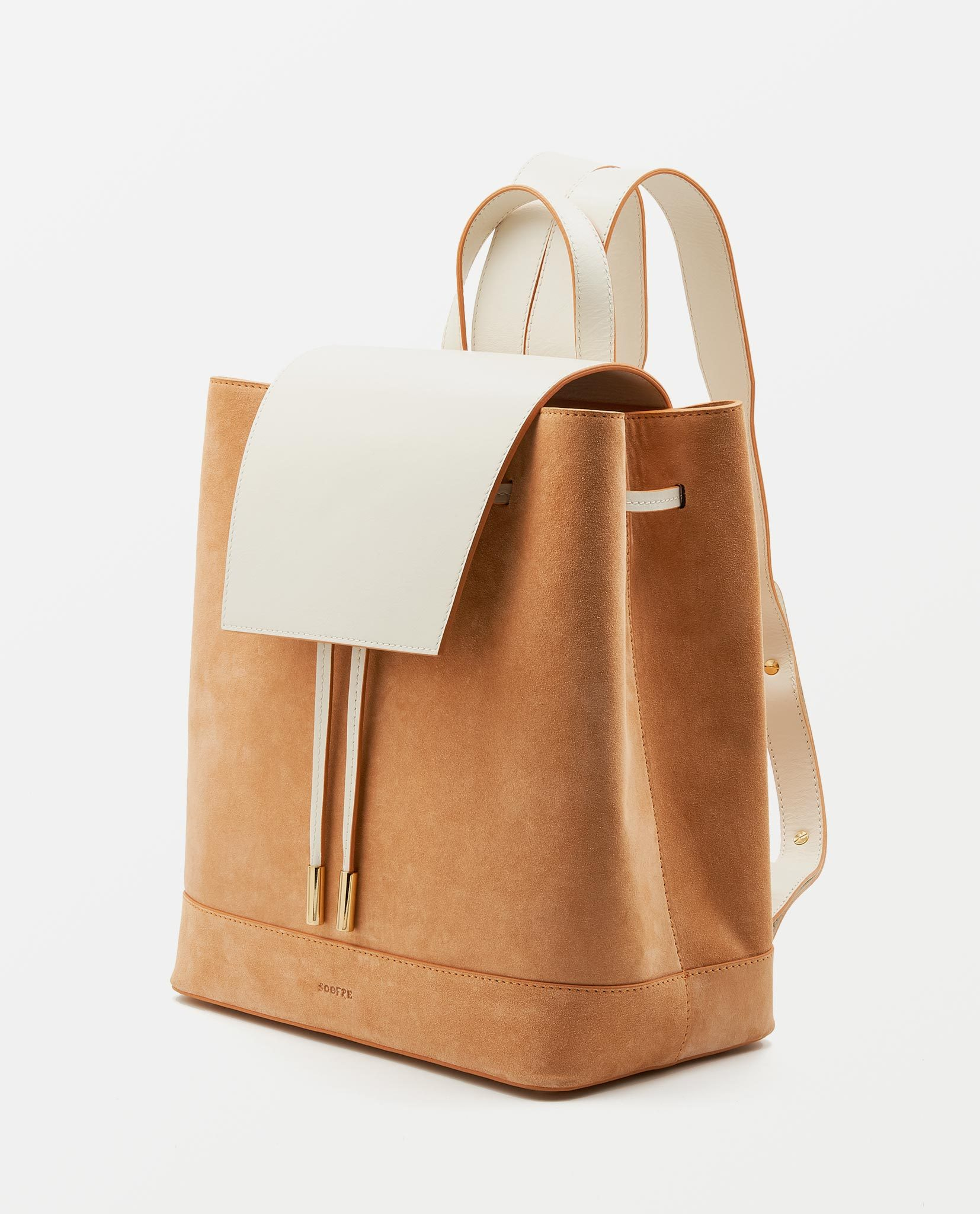 Soofre Backpack Suede Leather Apricot Cream
