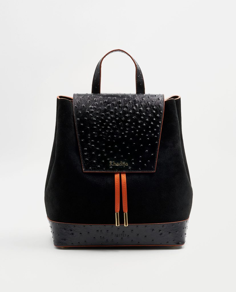 Soofre Ostrich Leather Backpack Color Black Orange