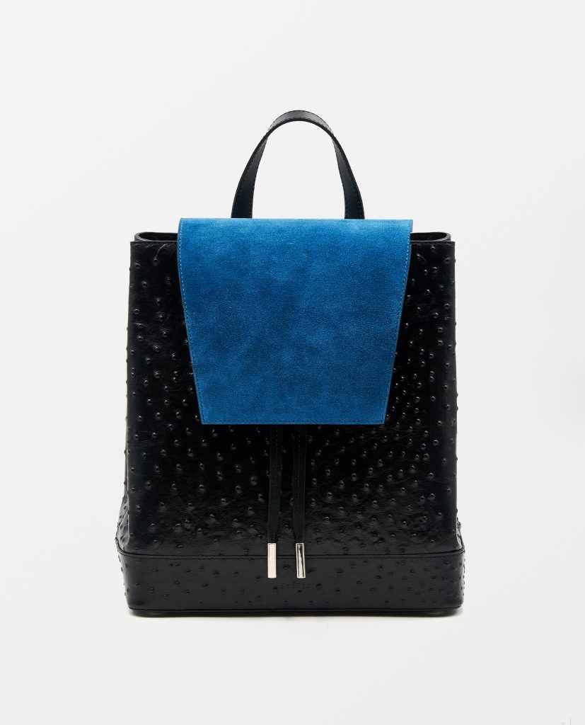 Soofre Ostrich Leather Backpack Color Black Sapphire Blue