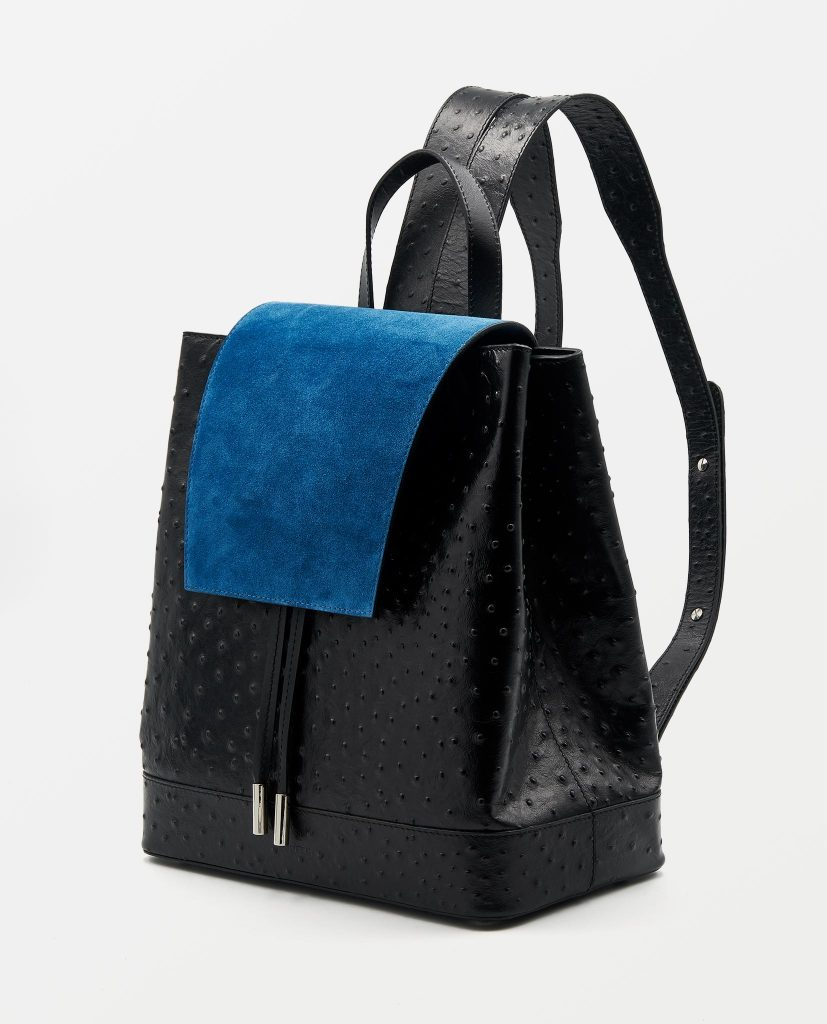Soofre Ostrich Leather Backpack Black Sapphire-Blue