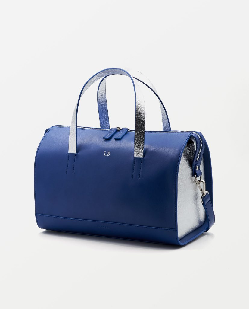 Soofre Smooth Leather Bowler Bag Color Azure-Blue Silver
